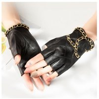 Brand designer leather half-finger gloves women's sheepskin motorcycle gloves leaking fingers short spring and autumn thin section riding driving
