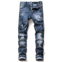 Erkek Erkekler Jean Kot Ripped Kot Rips Streç Siyah Moda Slim Fit Yıkanmış Motosiklet Denim Pantolon Panelli Hip Hop Pantolon B6