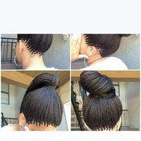Alta qualità Full Senegalese 2x Twist Trecce Parrucca sintetica Afro Twisted Hair Capelli Capelli Capelli Capelli intrecciata Parrucca anteriore in pizzo per le donne nere