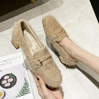 Slip-On Sandalen Flauschige Schuhe Womens Winter Outdoor Wear Mode Samt Gepolsterte klobige Fersenpumpen Mid Müßiggänger hoch