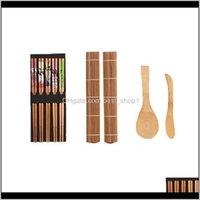 Kök, Bar Gardendiy Bamboo Sushi Making Kit 2 Pare 5 Mats Rullande Set Spridare Rice Chopsticks Kök Tools Gadgets Dining Home Shop