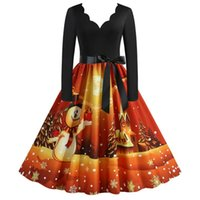 Casual Dresses Women Vintage Long Sleeve Christmas 1950s Housewife Evening Cloth Sequin Luxury Party One Piece