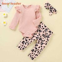Bear Leader Newborn Girls Boys Casual Clothes Fashion Spring Autumn Infant Baby T-Shirt Leopard Pants Toddler Bebes Suits 0-2Y Y0909