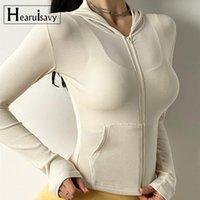 가을 얇은 후드 러닝 스포츠 재킷 여성 긴 소매 지퍼 피트니스 요가 셔츠 탑 운동 체육관 Activewear 훈련복 재킷