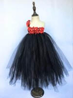 Girl's Dresses Girls Black Tutu Dress Kids Fluffy Tulle Strap Ball Gown With Red Pearl Flower And Headband Children Party Cloth