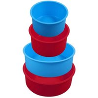 4 unids Moldeos de pastel de silicona Muebles Conjunto redondo, Pan rojo y azul Set de molde de hornear antiadherente Herramientas de pastelería.