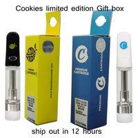 Cartins de Cookies 0.8ml 1.0ml Vape Cartuchos Vidro Atomizer Limited Edição Caixa de Presente Embalagem Vaporizador Cartucho vazio 510 caneta descartável