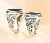 Kluster ringar 13 * 17mm 925 Sterling Silver Män Semi Mount Bases Blanks Base Blank Pad Vintage Wedding Ring Inställning Set DIY A5372