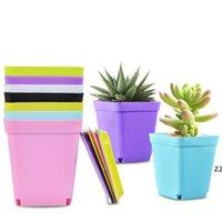 꽃 냄비 사각형 플라스틱 재배자 보육원 가든 데스크 홈 장식 캔디 컬러 트레이 무작위 색상 HWF7448