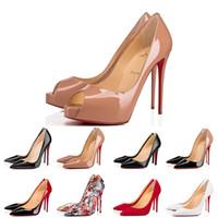 Louboutin Christian Kırmızı Dipleri Tasarımcı Ayakkabı Cl Yüksek Topuklu 8 10 12 cm Beyaz Yani Kate Bayan Bayanlar Elbise Bölüm Düğün Hakiki Deri Noktası Toe Pompaları Boyutu 35-44