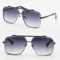 판매 남성 제한 에드 에디션 6 금속 빈티지 패션 선글라스 스타일 광장 Frameless UV 400 렌즈 남성 및 여성 블랙 또는 골드 둥근 모양 얼굴 Adumbral