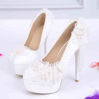 Sandals 2021spring crystal lace women's shoes bride bridesmaid white wedding pearl tassel stiletto high heel large size party shoe