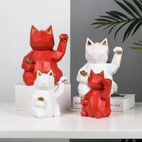 Sculpture de chat géométrique Sculpture de chat naturel Crafts de Noël Jour de Noël