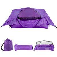 Canapé d'air gonflable de tente portative de 2 en 1 avec canopée Camping en plein air Sacs à dos Randonnée à suspension Suspension Tentes et abris