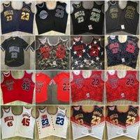 M N خمر ميشيل # 23 94-95 03 جميع لحن فرقة شبكة التطريز الشعارات مخيط كرة السلة الفانيلة الأسود الأبيض الأحمر
