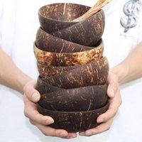그릇 12-15cm 자연 코코넛 그릇 보호 나무 도자기 Vaisselle 나무 식기 숟가락 세트 코코 쿠 켄스 주방 환경 볼