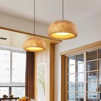 Handmade Bamboo Lighting Rattan Lamp Chandelier Retro Cafe Bar Lounge For Garden Restaurant Bedroom PL-ZL-01