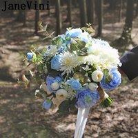 Wedding Flowers JaneVini Sky Blue Rose Articielle Bouquet For Bride Silk Bridesmaid Flower Ivory Peony Bridal Ramo Noiva