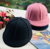 INS Big kids cashmere woolen caps girls metals letter applique ball cap autumn fashion lady outdoor stingy brim hat Q1893