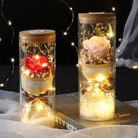 Couverture de fleurs décoratives Couverture de verre artificiel tournesol Rose Éternel Jour de la mère Valentine Cadeau de la Saint-Valentin Boîte de vacances de vacances avec lumière