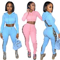 Wholesale Items Tracksuits Fall Clothes for Women 2021 Fashion Two Piece Set Sweatshirt Hoodie Bandage Sexy K7363_1