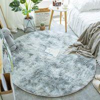 Peluş Yuvarlak Halı Oturma Odası Için Kalın Kabarık Alan Kilim Yatak Odası Shaggy Kaymaz Kravat Boyası Çocuklar Paspas Ev Dekor Halılar