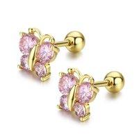 Stud 5 Colors Cute Butterfly Screw Back Earrings For Women Kids Child Baby Girls Cubic Zircon Gold Color Jewelry Aros Oorbellen