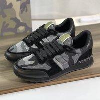 MENS ROCKRUNNER Camouflage Sneakers Designers Designers Tissu Maille Tissu Top Qualité Cuir Véritable Cuir Extérieur Chaussures décontractées avec boîte