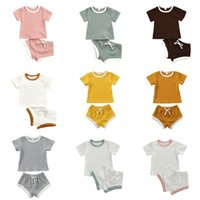 9 Colors Baby Kids Girls Boys Children Clothing Sets Knitted Cotton Suits Short Sleeve Tops Straps Shorts 2Pieces Summer Outfits 2121 Q2