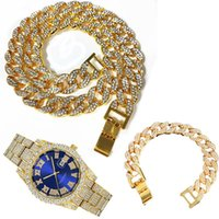 Chains 3pcs Kit 15MM Hip Hop Iced Out Paved Rhinestones Miami Cuban CZ Necklace+Watch+Bracelet Rapper Bling For Man Women Jewelry