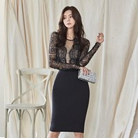 Casual Dresses Sheath Dress Long Sleeve Lace Stitching O-Neck Slim High Waist V-neck Pack Hip Sexy Bodycon Women Robes T5073