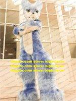Gri Uzun Kürk Husky Köpek Kurt Fox Fursuit Kürklü Maskot Kostüm Yetişkin Karikatür Karakter Sevimli Sevimli Cadılar Bayramı Tüm Yadigarlar ZZ9510