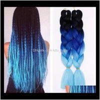 Bulks Extensions Productsz&F Kanekalon Fashion Braiding Jumbo Braids Wefts Ombre Bulk Synthetic Hair Extension Colors 24Inch 100G Drop Deliv