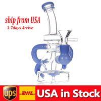 1 st Glas Bong Hookahs Recycler Vattenrör 14mm Kvinna Joint Oil Dab Rigs med rökning Tobakskål i lager USA