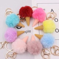 10pcs lot Girls Fashion Jewelry Party Favors Keychains Lovely Ice Cream Fluffy Key Ring Baby Shower Gift for Women Bags Dec H0915