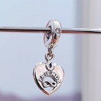 Authentic 925 Sterling Silver Friends Forever Heart Dangle Charm Bead Adatto a Bracciali europei Bracciali per gioielli in stile Pandora