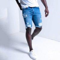 Kot Man 2021 Yaz erkek Moda Deldi Kurdele Denim Şort Rahat Avrupa Kot Capris