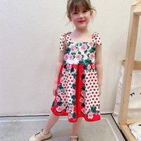 Chicas de lujo Vestido impreso rosa 2021 Verano New Niños Lunares Lunares Suspender Vestido Niños Algodón Plisado Vestido A6117 2574 Q2