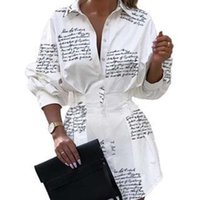 Sexy Turn-Down Collar Button Shirt Dress Women Autumn Letter Print Long Sleeve Mini Elegant Ladies Office