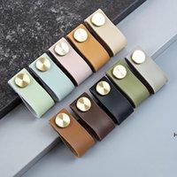 Guarda-roupa punho de couro de couro cobre detentor de prego porta de gaveta de porta de colisão mão puxar multi cor hwa5595