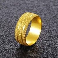 Fiore smerigliato da donna Flower 24k Gold Plated Band Rings JSGR018 Moda regalo di nozze Donne Giallo Gold Plate Yellow Anello