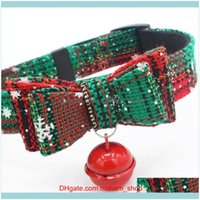 Collars Leashes Supplies Home & Gardensmall Medium With Belt Set Double Bow And Bell Adjustable Christmas Collar Dog Pet Products #S1 Drop D