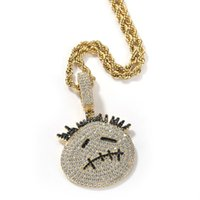 Pendant Necklaces Hip Hop 3A+ CZ Stone Paved Bling Iced Out Small Thorn Head Cartoon Character Pendants For Men Rapper Jewelry Gift