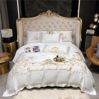 Bedding Sets Queen Super King Size Set White Egyptian Cotton Gold Embroidery Duvet Cover Bed Sheet Fitted Parrure De Lit Ropa