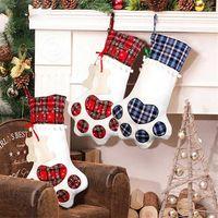 Pata Meias de Natal Saco de Presente Dog Bone pata Forma Xadrez Hanging Estoques Natal Pingente de Natal Decoração Presente Doces Saco de Doces Hha1578