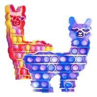 Lama Alpaca Shape Formation Pop Bubble Popper Cravate Cravate Dye Fidget Poo-Son doigt Puzzle Silicone Squeezzy Squeezzy Dessin animé Animal Jouets Soulasie Soulagement Jeux Enfants Babay Jouet