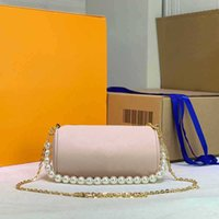 Mini Barrel-formad axelväska Kors Kroppsväskor Vanlig Utskrift Zipper Tote Wallet Fashion Letter Chains Beads Straps Handbag Paket