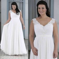 A Line V Neck Lace Chiffon Floor Length Bridal Gowns Cheap Maxi Size Custom Made Modest Plus Size Summer Beach Wedding Dresses