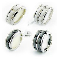 Fashion Jewelry Women Love Ring Double Row And Single Black White Ceramic s For Men Plus Big Size 10 11 12 Wedding Lonkz