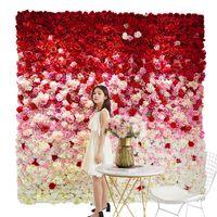 인공 꽃 벽 60 * 40cm 장미 수국 꽃 배경 결혼식 꽃 홈 파티 웨딩 장식 액세서리 341 S2